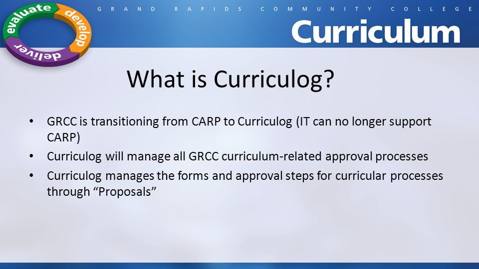 What is Curriculog GRCC is transitioning from CARP to Curriculog (IT can no longer support CARP)