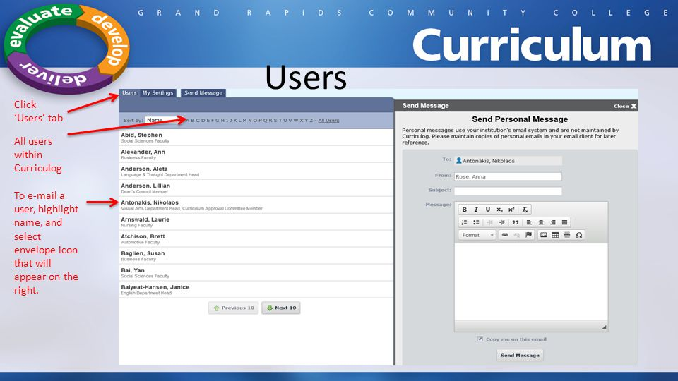 Users Click 'Users' tab All users within Curriculog