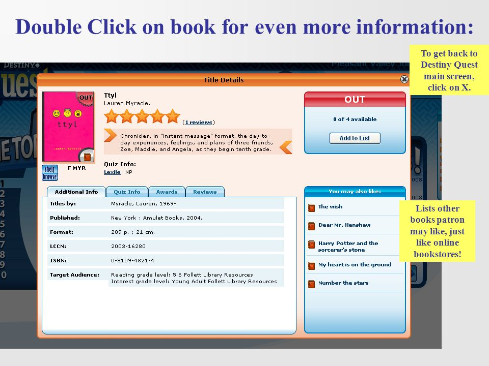 Double Click on book for even more information: