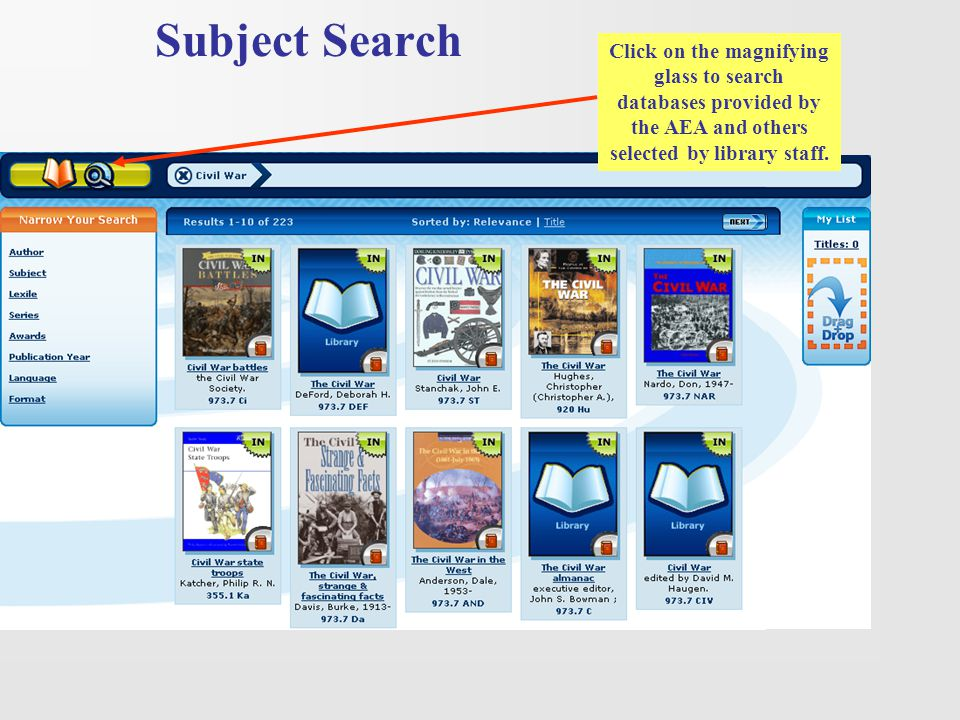 Subject Search Click on the magnifying glass to search databases provided by the AEA and others selected by library staff.