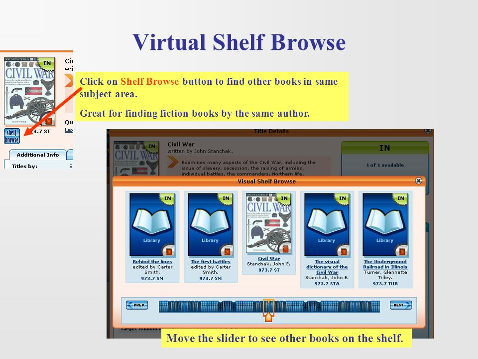 Virtual Shelf Browse Move the slider to see other books on the shelf.