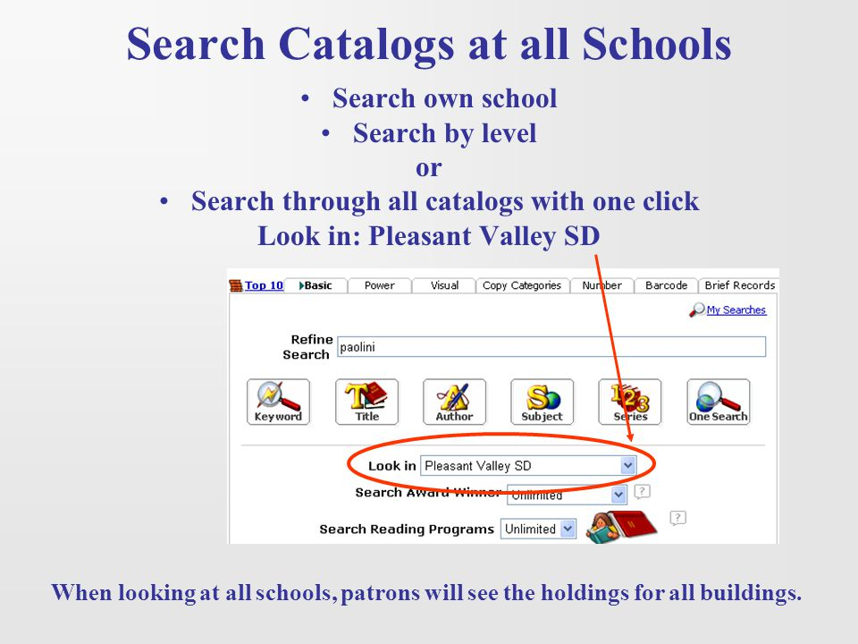 Search Catalogs at all Schools