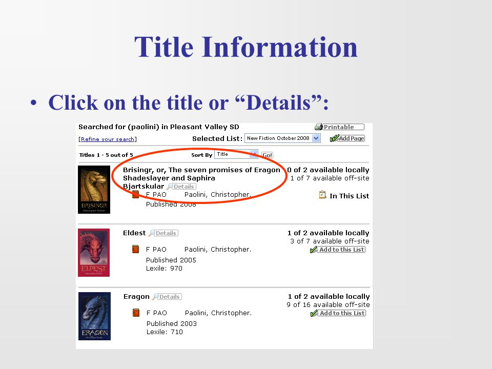 Title Information Click on the title or Details :