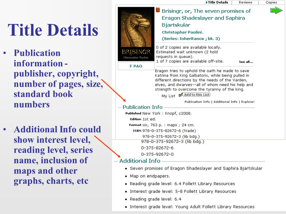 Title Details Publication information - publisher, copyright, number of pages, size, standard book numbers.