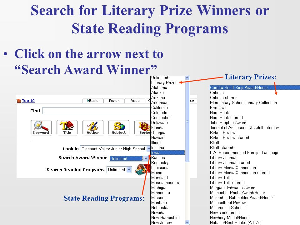 Search for Literary Prize Winners or State Reading Programs