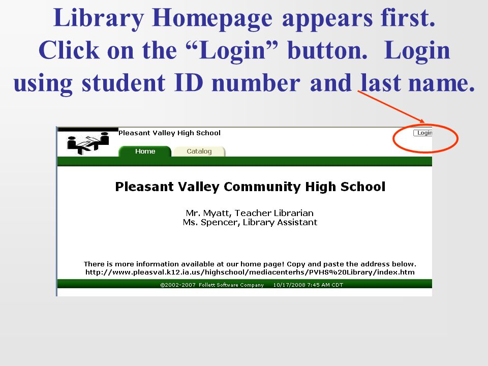 Library Homepage appears first. Click on the Login button