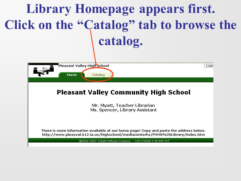 Library Homepage appears first