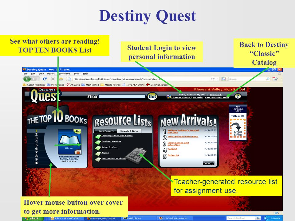 Destiny Quest See what others are reading! TOP TEN BOOKS List