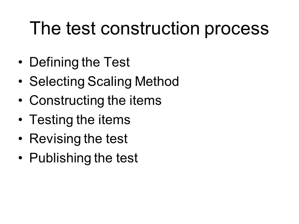 The test construction process