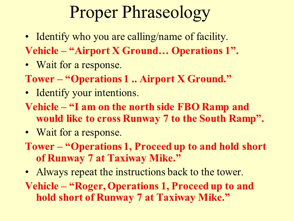 Proper Phraseology Identify who you are calling/name of facility.