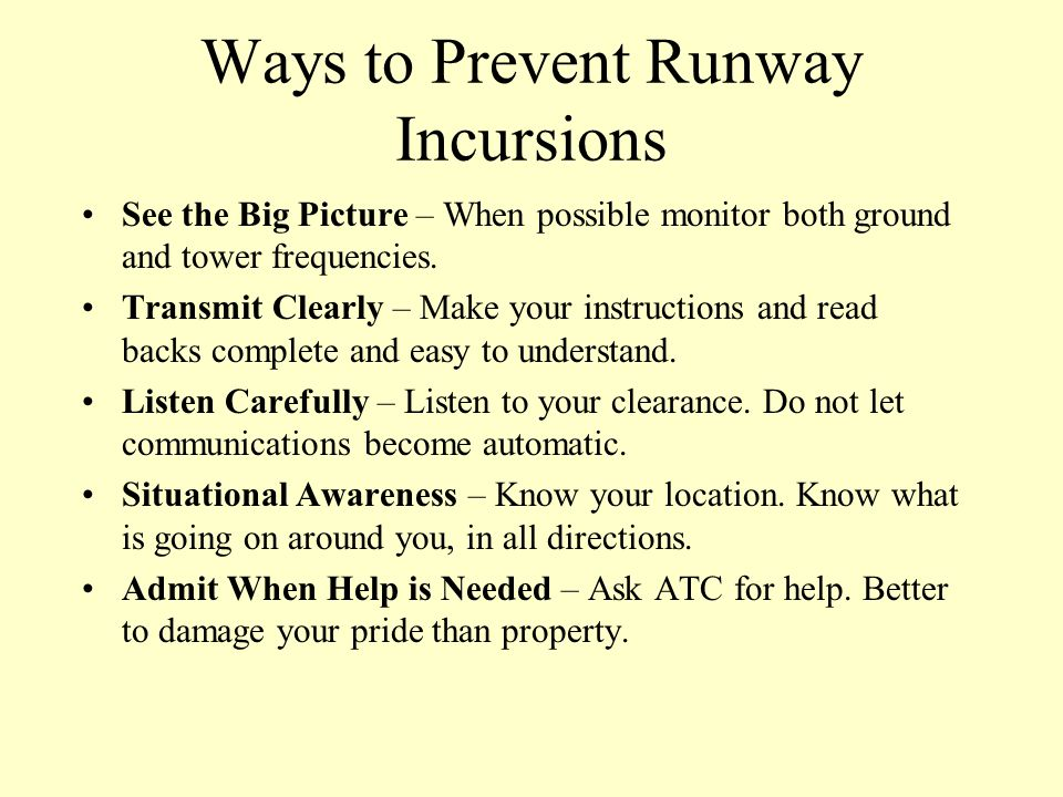 Ways to Prevent Runway Incursions