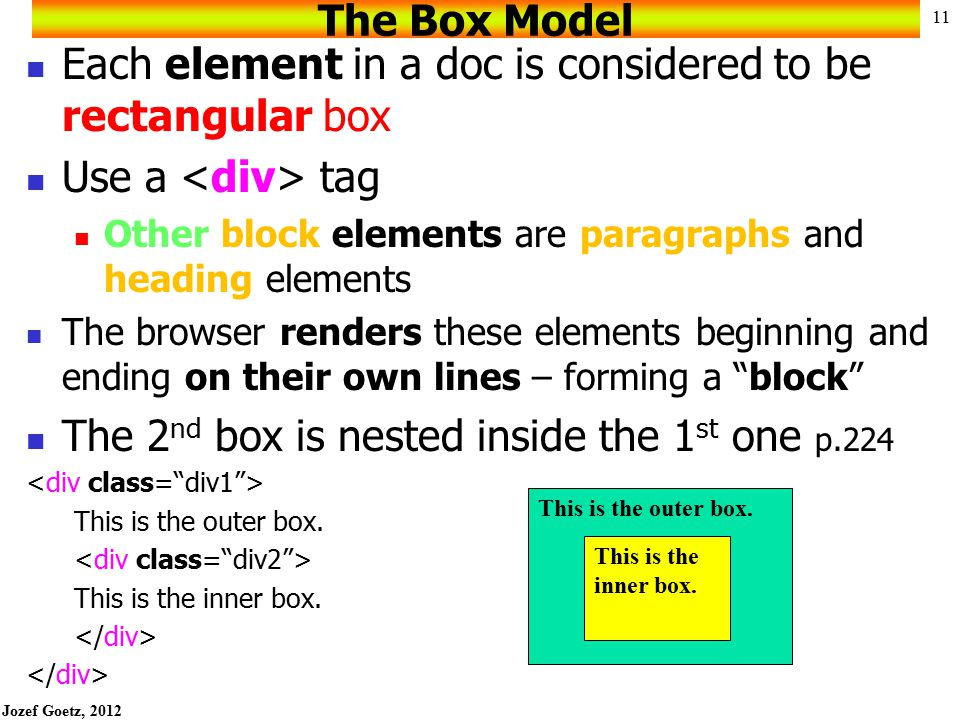 Each element in a doc is considered to be rectangular box