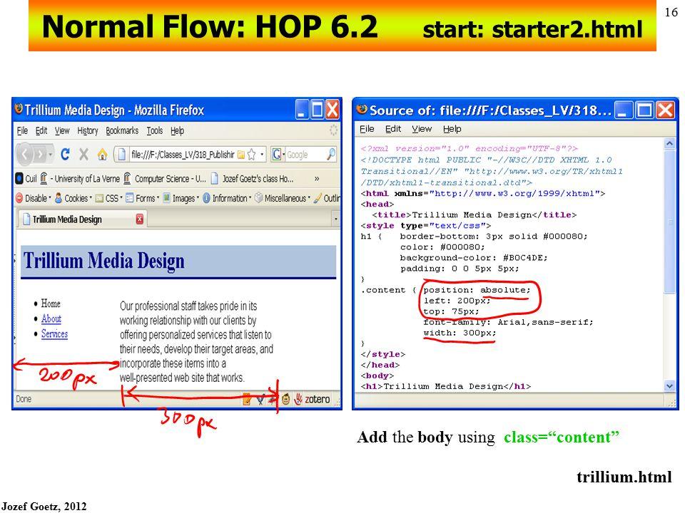 Normal Flow: HOP 6.2 start: starter2.html