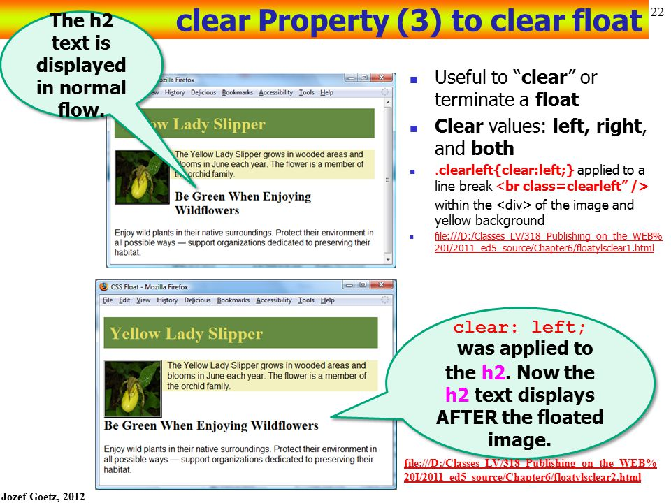clear Property (3) to clear float