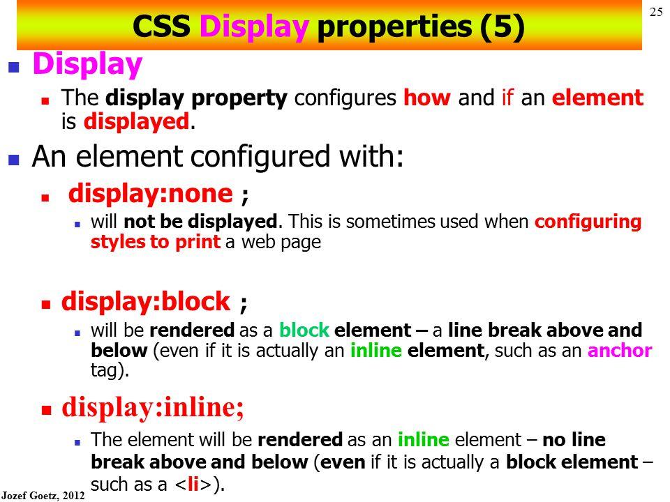 CSS Display properties (5)