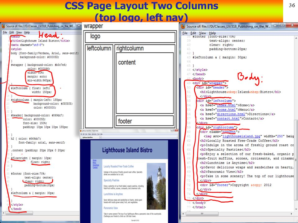 CSS Page Layout Two Columns (top logo, left nav)