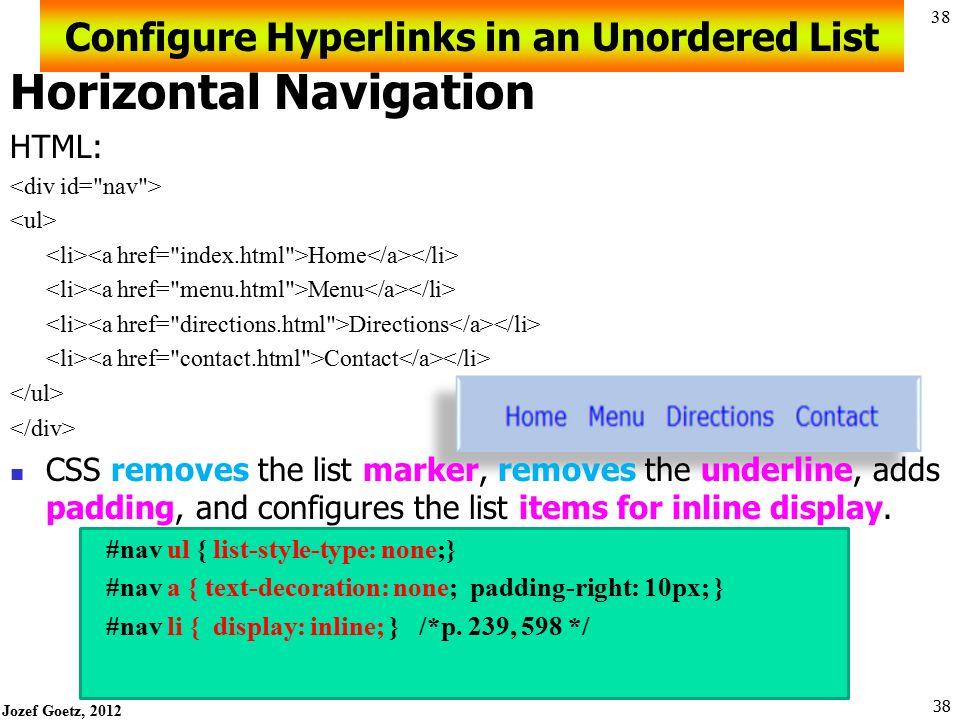 Configure Hyperlinks in an Unordered List