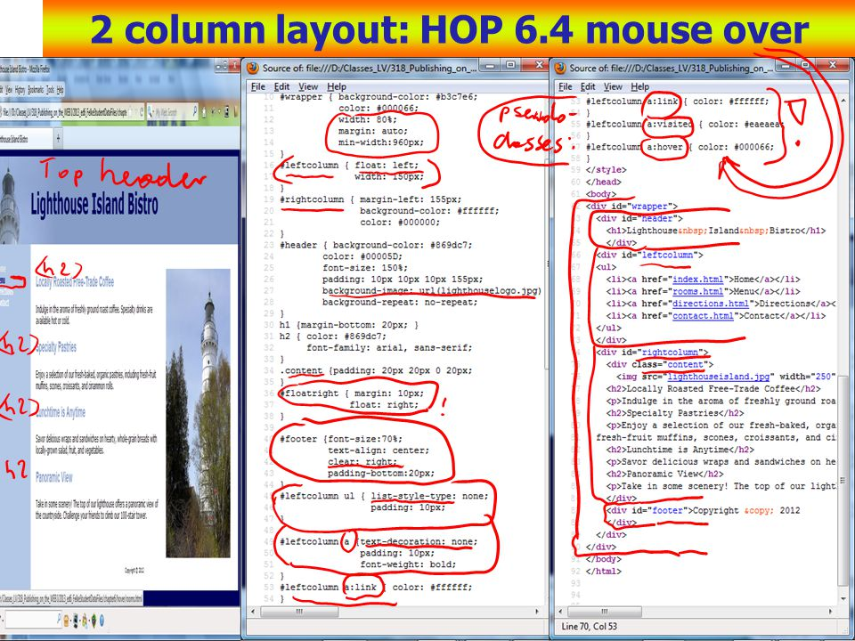 2 column layout: HOP 6.4 mouse over