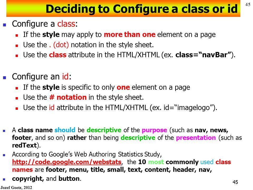 Deciding to Configure a class or id