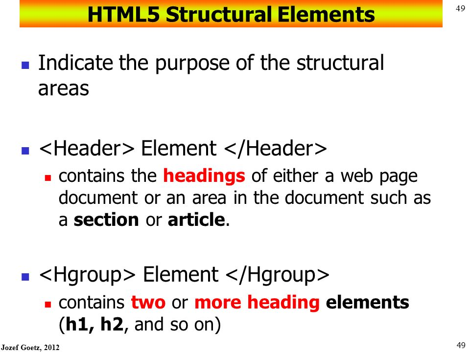 HTML5 Structural Elements