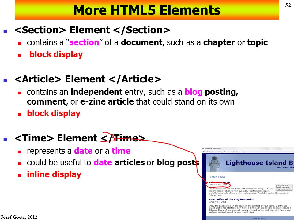 More HTML5 Elements <Section> Element </Section>
