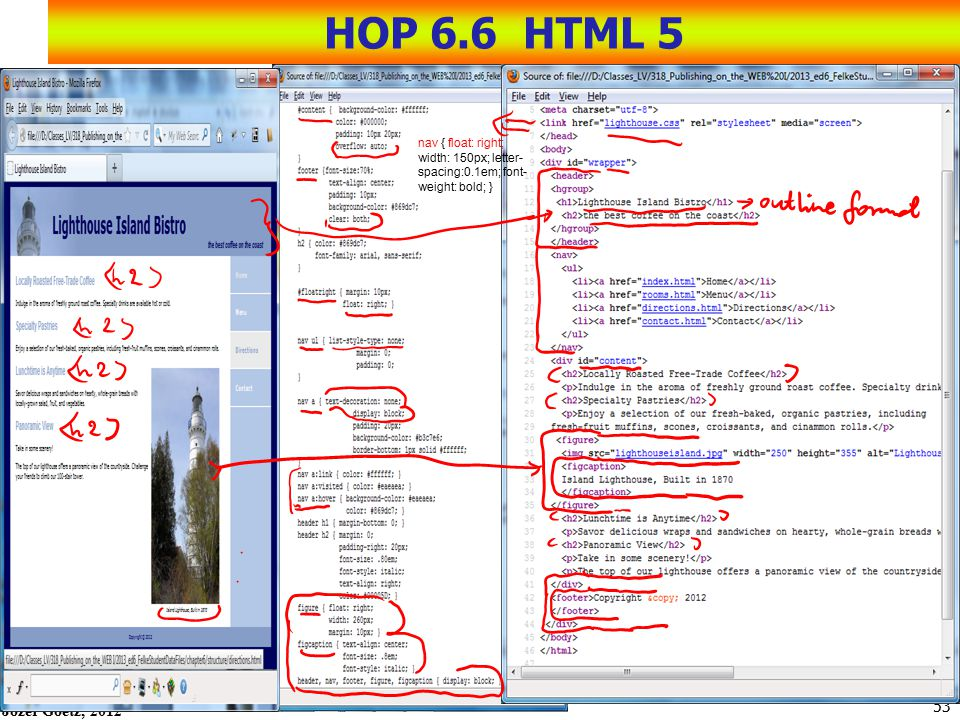 HOP 6.6 HTML 5 nav { float: right; width: 150px; letter-spacing:0.1em; font-weight: bold; }