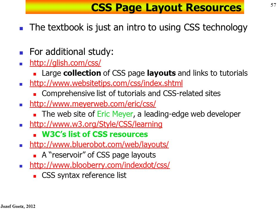 CSS Page Layout Resources