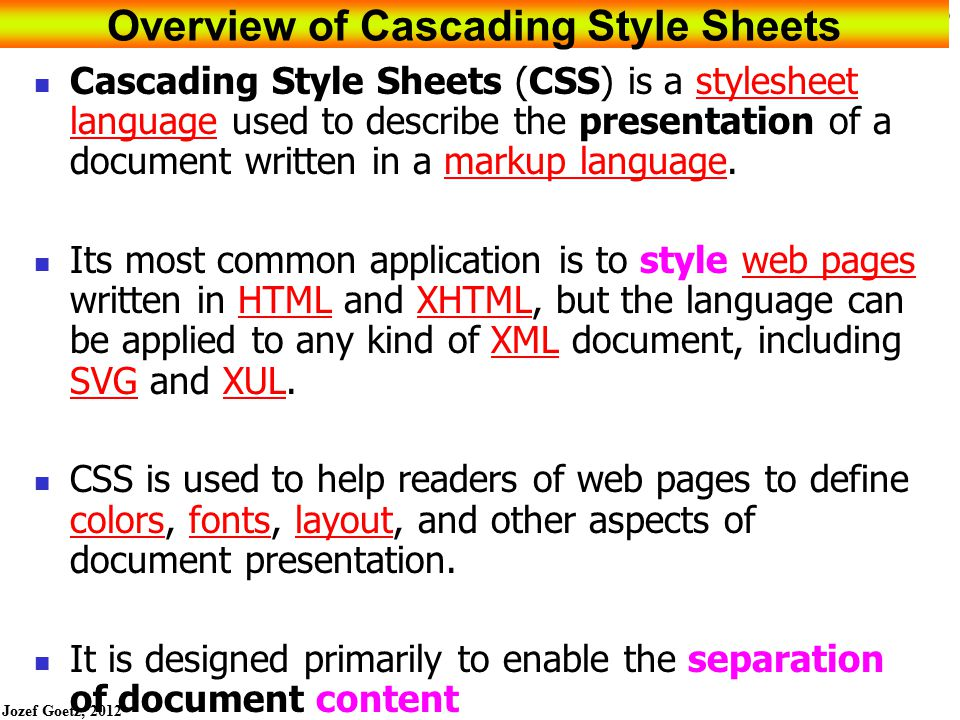 Overview of Cascading Style Sheets