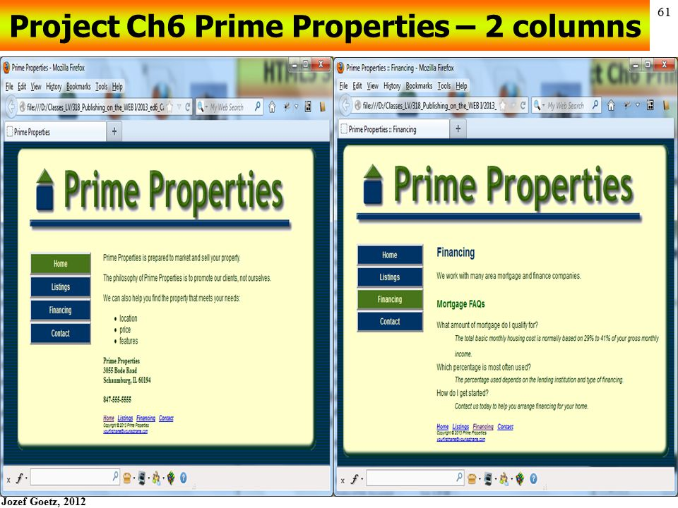 Project Ch6 Prime Properties – 2 columns