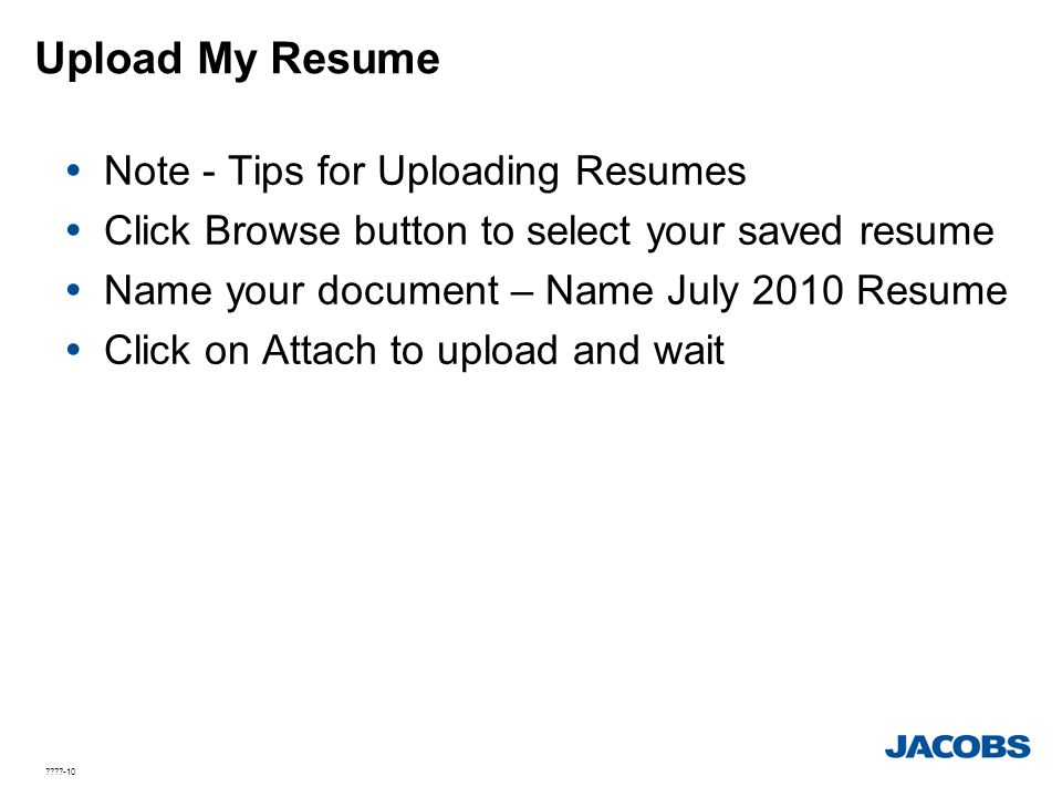 Upload My Resume Note - Tips for Uploading Resumes