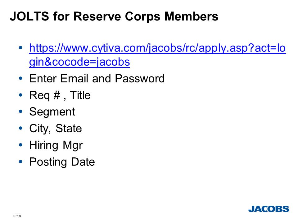 JOLTS for Reserve Corps Members