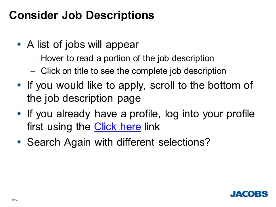 Consider Job Descriptions
