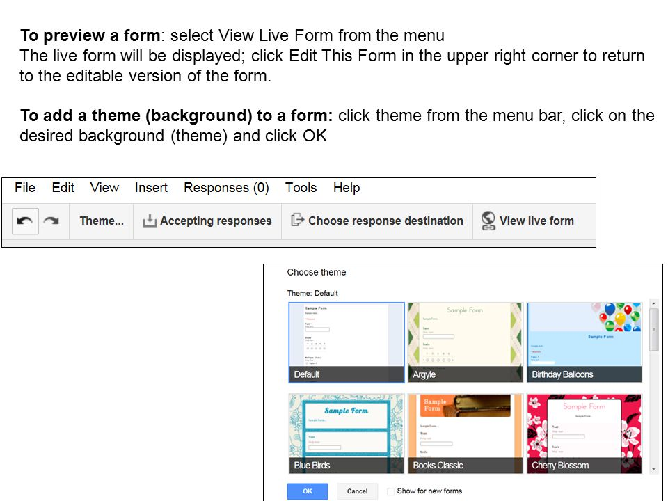 To preview a form: select View Live Form from the menu