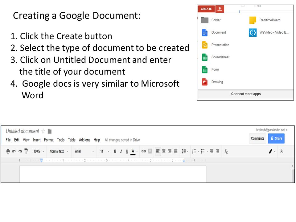 Creating a Google Document: