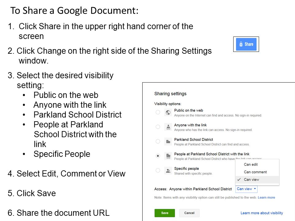 To Share a Google Document: