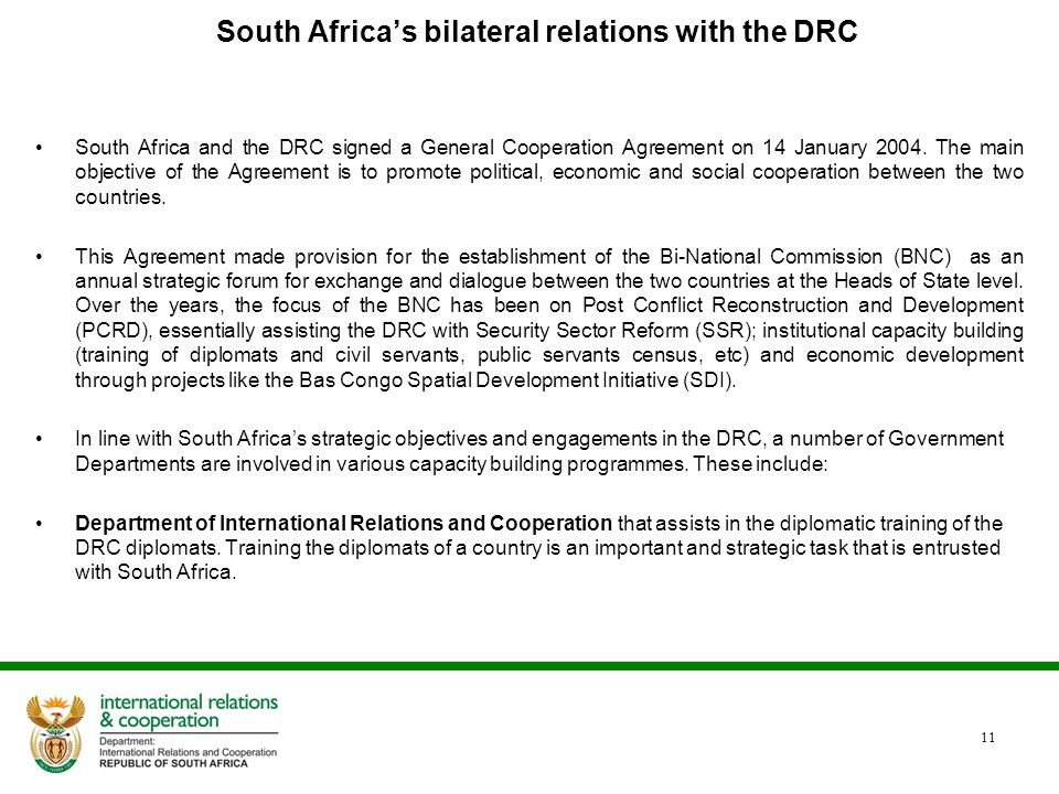 South Africa's bilateral relations with the DRC