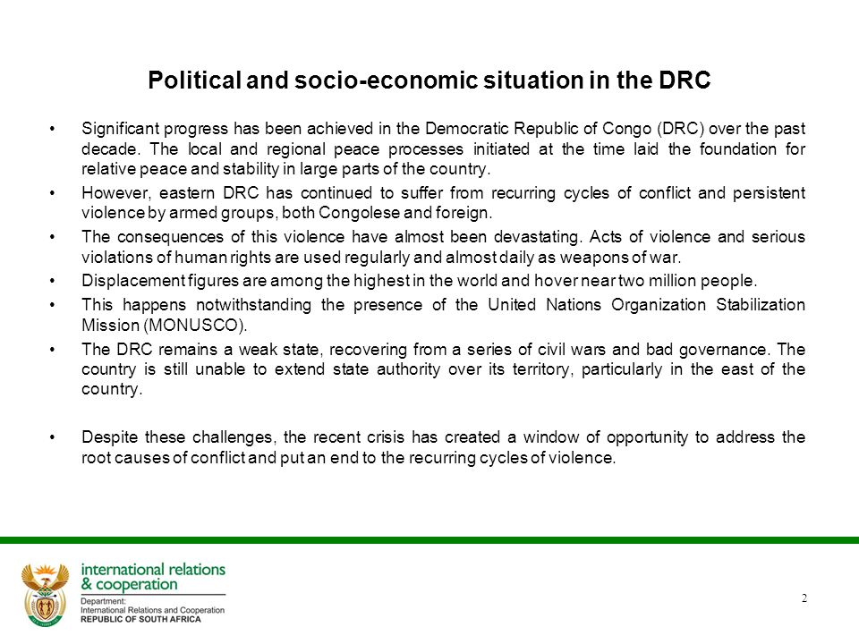Political and socio-economic situation in the DRC