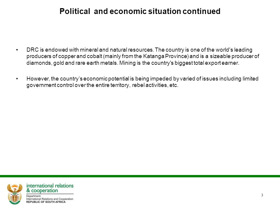 Political and economic situation continued