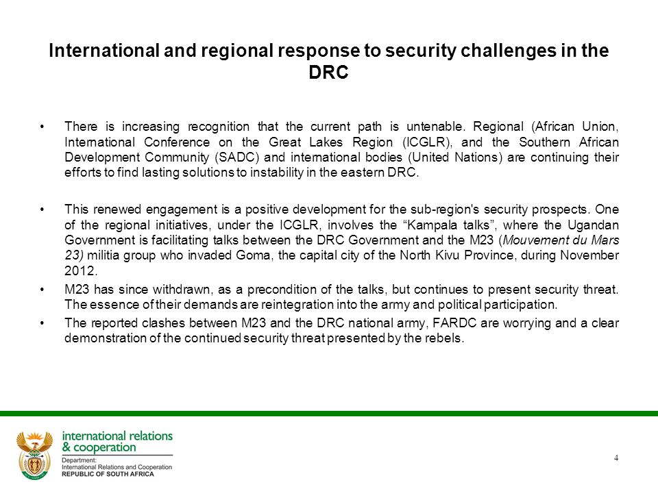 International and regional response to security challenges in the DRC