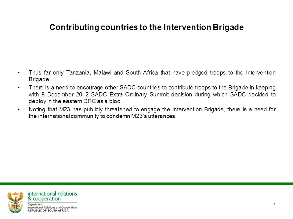 Contributing countries to the Intervention Brigade