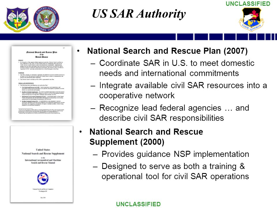 US SAR Authority National Search and Rescue Plan (2007)