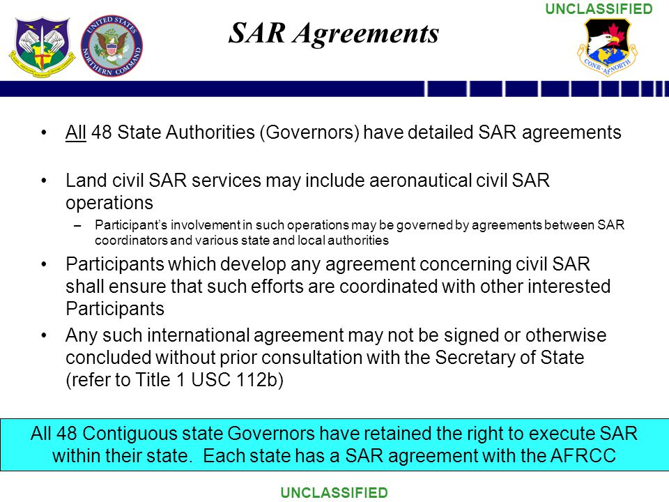SAR Agreements All 48 State Authorities (Governors) have detailed SAR agreements.
