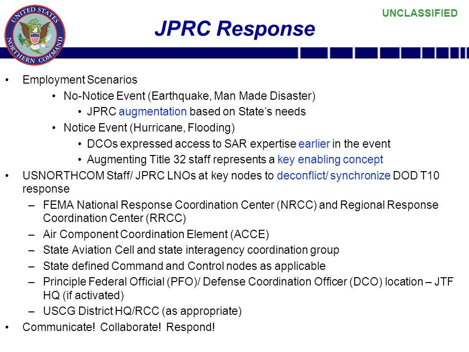 JPRC Response Employment Scenarios