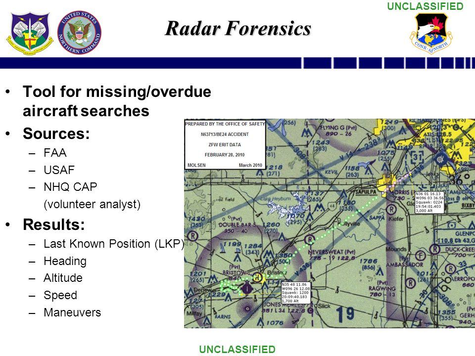 Radar Forensics Tool for missing/overdue aircraft searches Sources: