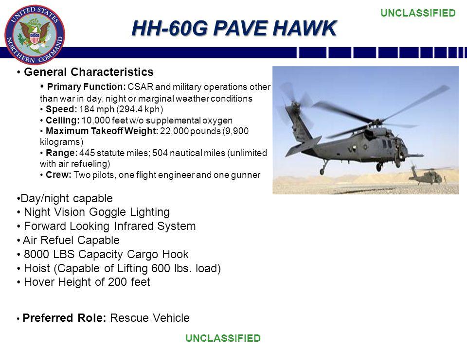 HH-60G PAVE HAWK General Characteristics