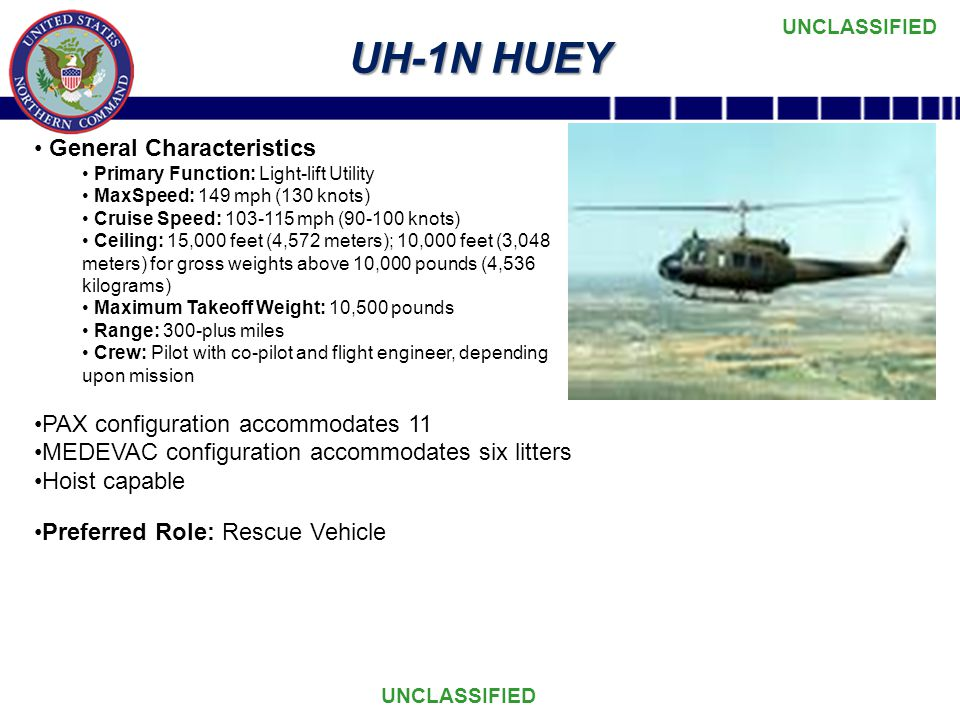 UH-1N HUEY General Characteristics PAX configuration accommodates 11