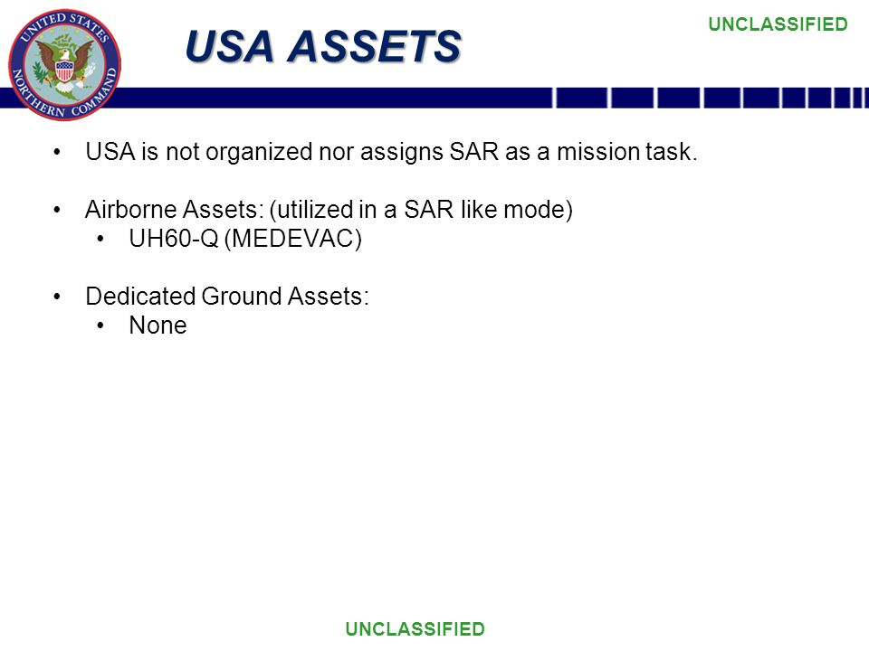 USA ASSETS USA is not organized nor assigns SAR as a mission task.