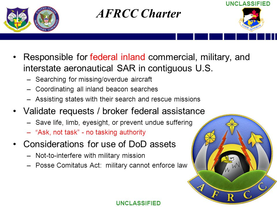 AFRCC Charter Responsible for federal inland commercial, military, and interstate aeronautical SAR in contiguous U.S.