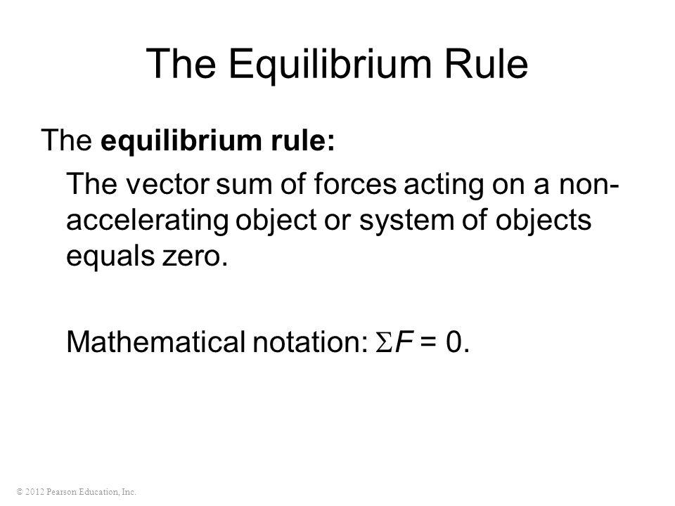 The Equilibrium Rule The equilibrium rule: