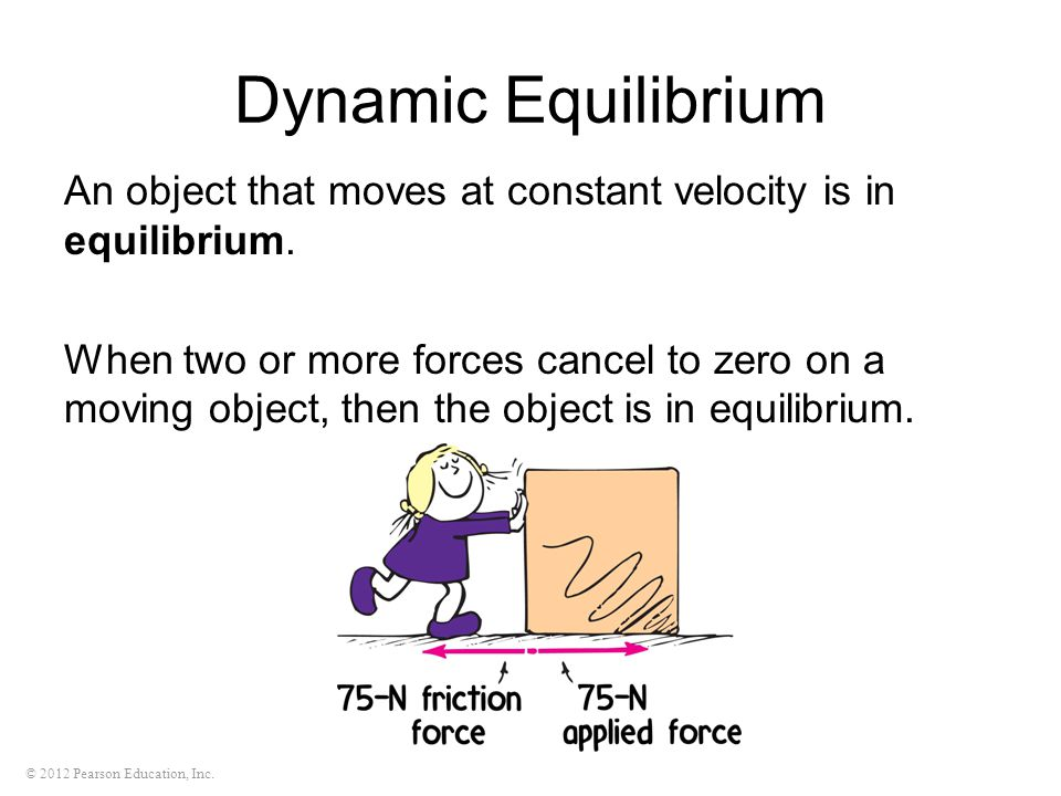 Dynamic Equilibrium An object that moves at constant velocity is in equilibrium.